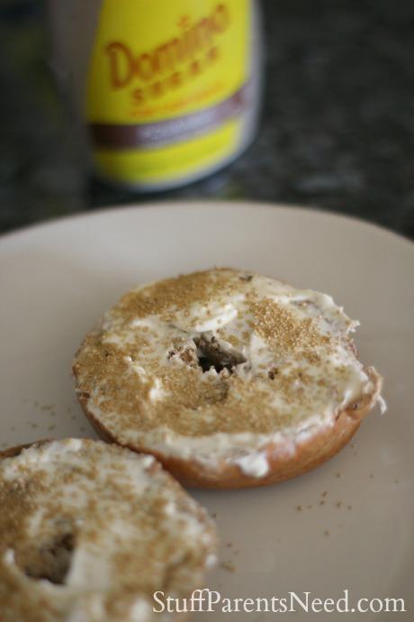 domino sugar with bagel