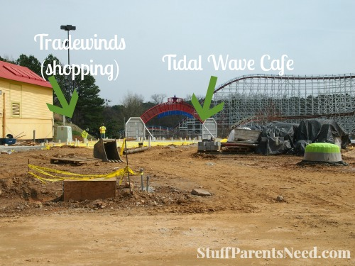 future site of tradewinds and tidal wave cafe hurricane harbor