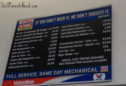 express oil change menu of services