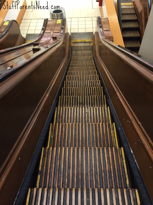 wooden escalators at macy's