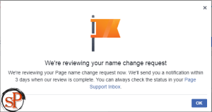 request new facebook page name