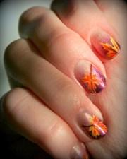 festive fall leaf nail design