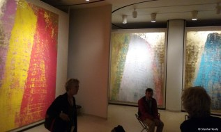 Inside the painting gallery, which has changing exhibits. This one was of Johnson's Lipstick Building in Manhattan