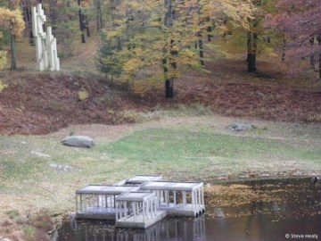 Pond with pavillion and sculpture