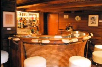 "Bar onboard on the Christina O, courtesy of ""The Secret Mediterranean with Trevor McDonald"""