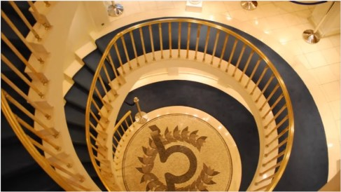 "Spiral staircase on the Christina O, courtesy of ""The Secret Mediterranean with Trevor McDonald"""
