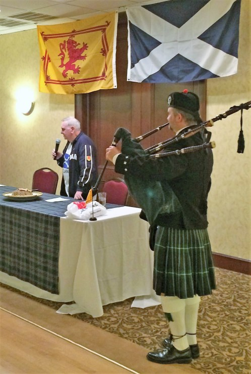 Two Scots: Gregor piped in the haggis and Duncan gave the address