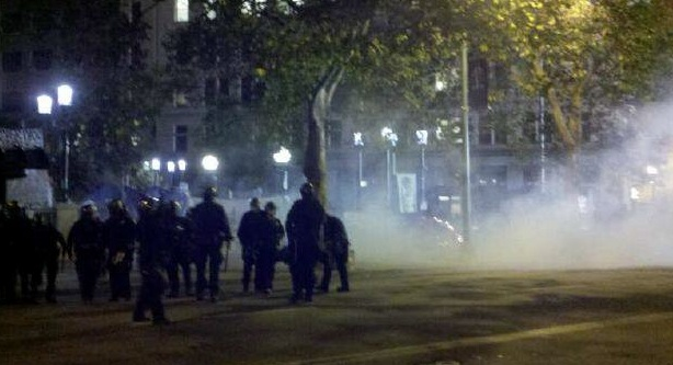 tear gas thrown at occupy oakland protestors in Oaksterdam, Oakland
