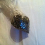 tiny bag filled with marijuana
