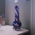 blue and white bong in the bathroom