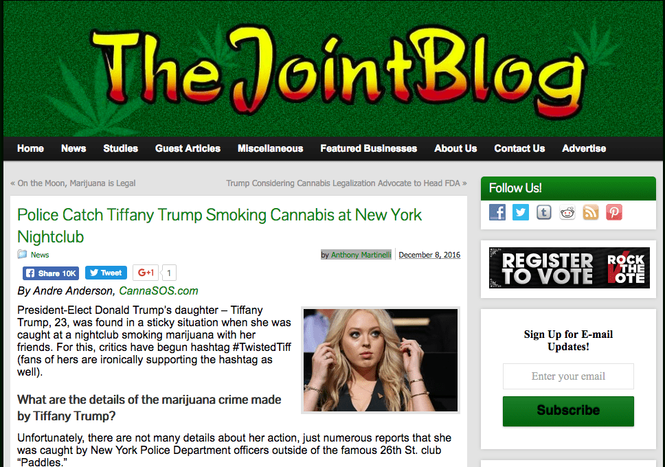 Joint Blog Publishes Fake News on Tiffany Trump