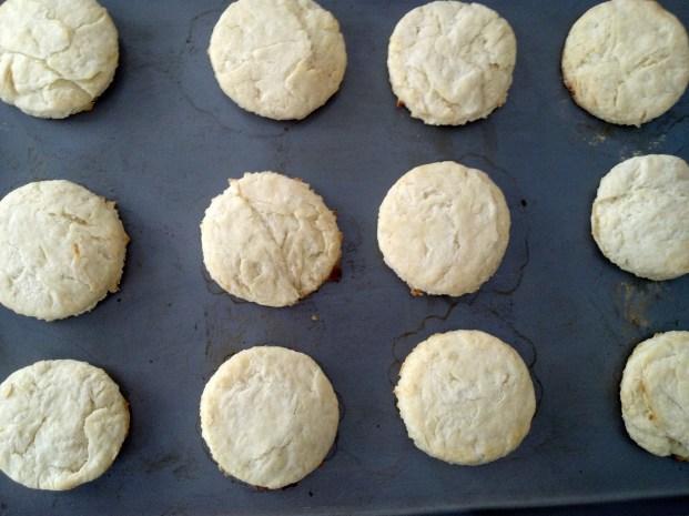 tea biscuits on pan