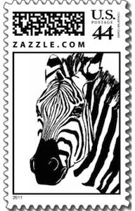 Zebra face postage stamp