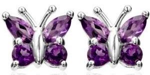 real amethyst butterfly earrings