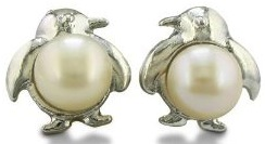 Pearl earrings in the shape of penguins