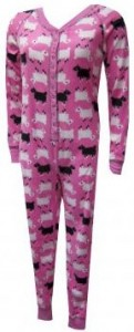 Let's Count Sheep Pink Fleece Union Suit for women