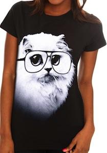White Cat wearing glasses t-shirt