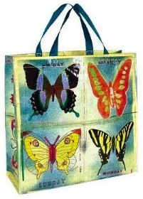 Butterfly reusable tote bag