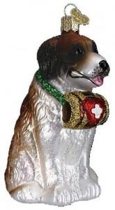 Saint Bernard Glass Christmas Ornament
