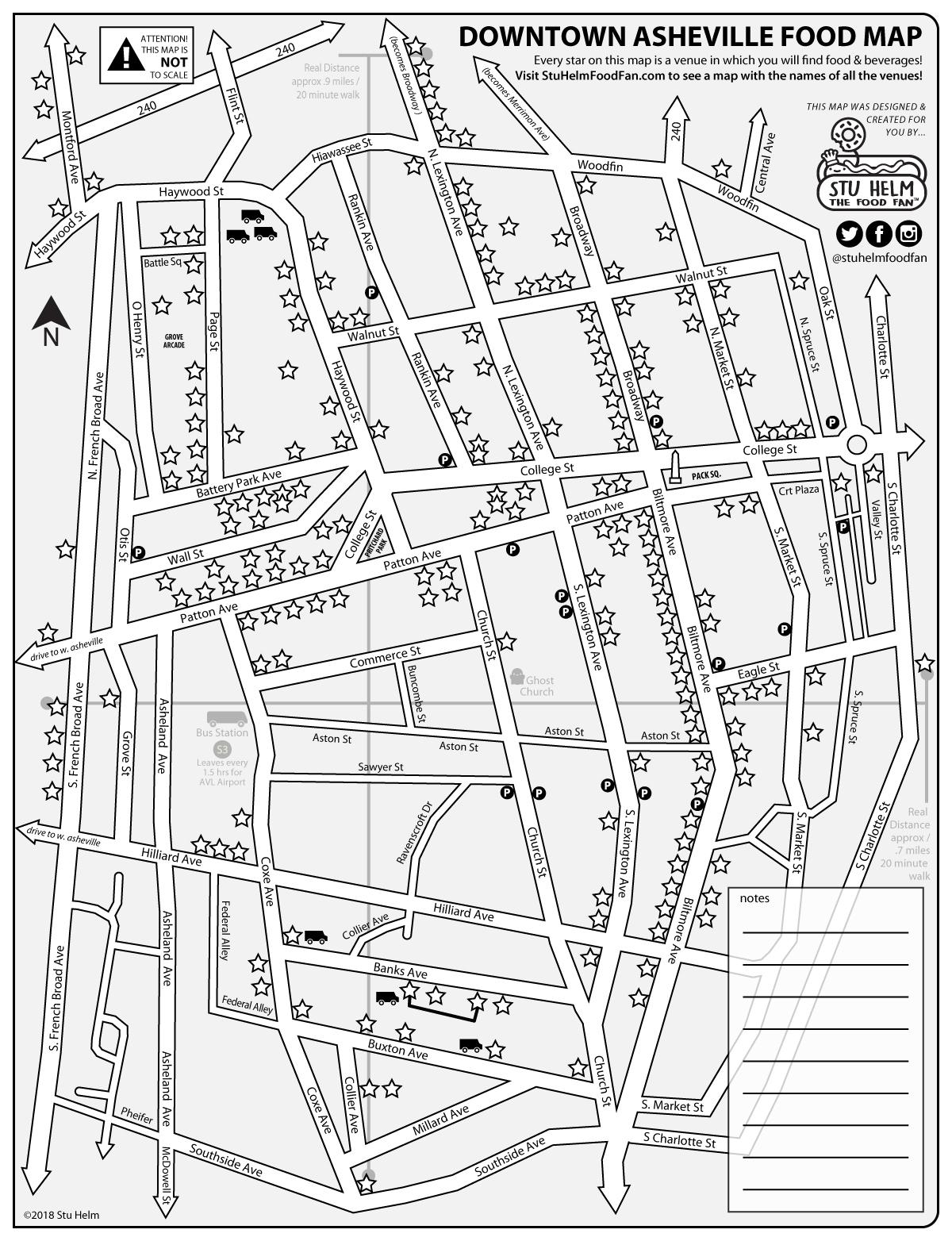 Stu Helm S Mega Food Maps Downtown Asheville All Food