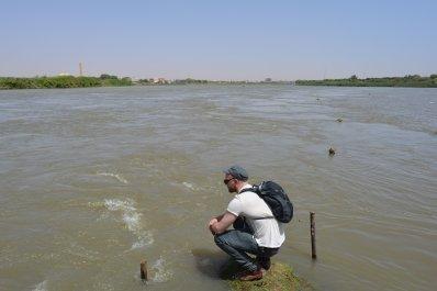 Nick Howe at Mogran el-Nil, Khartoum, Sudan. The confluence of the BLue Nile and the White Nile.
