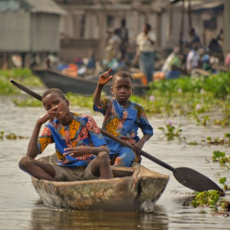 Youngsters, Ganvie Stilt Village, Lake Nokoue, Benin