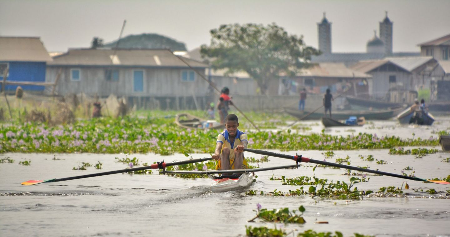 Rowing, Ganvie Stilt Village, Lake Nokoue, Benin