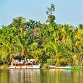 Water taxi on Kerala's backwaters in India