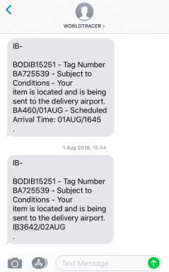 Iberia Lost Luggage - Text Updates
