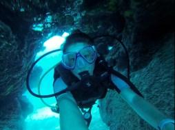 Andrea through a cave