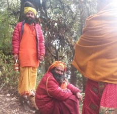 Sadhus (Ascetic wanderers) near Shiva Puri. Gotta love the down puffy jackets