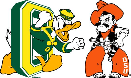 Oregon Duck Oklahoma State Cowboy Mascot Matchup