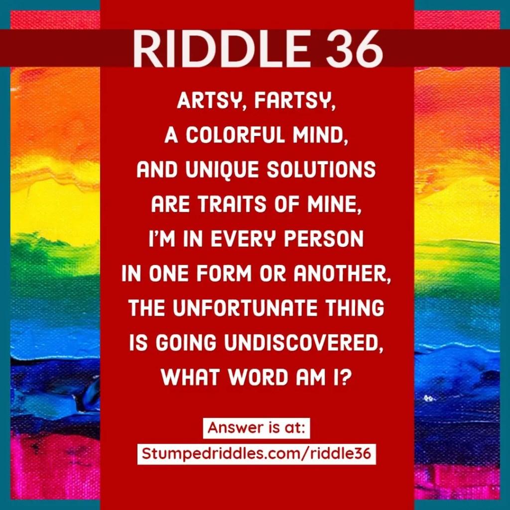 Riddle 36 on StumpedRiddles