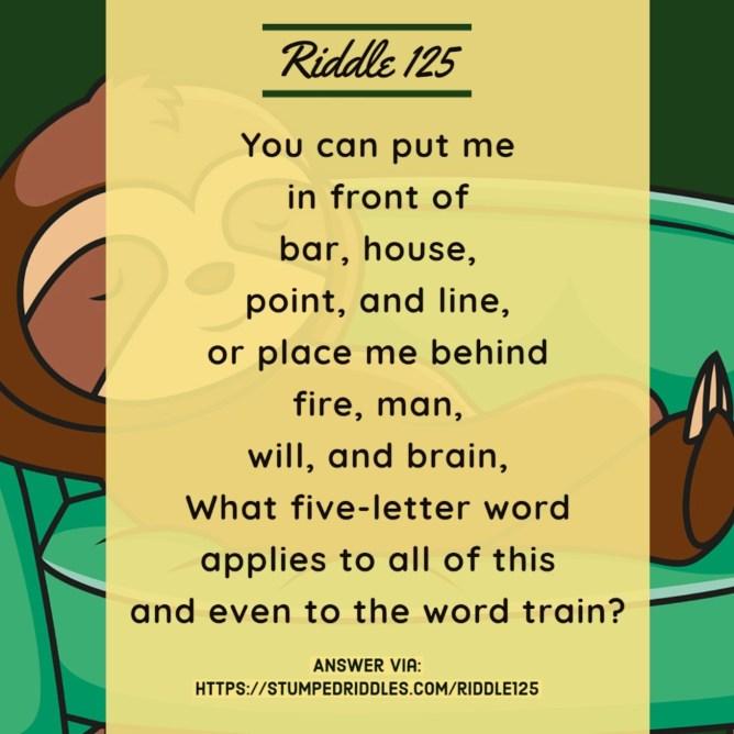 Riddle 125 on StumpedRiddles