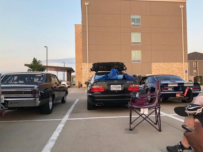 Enjoying sunset in the parking lot