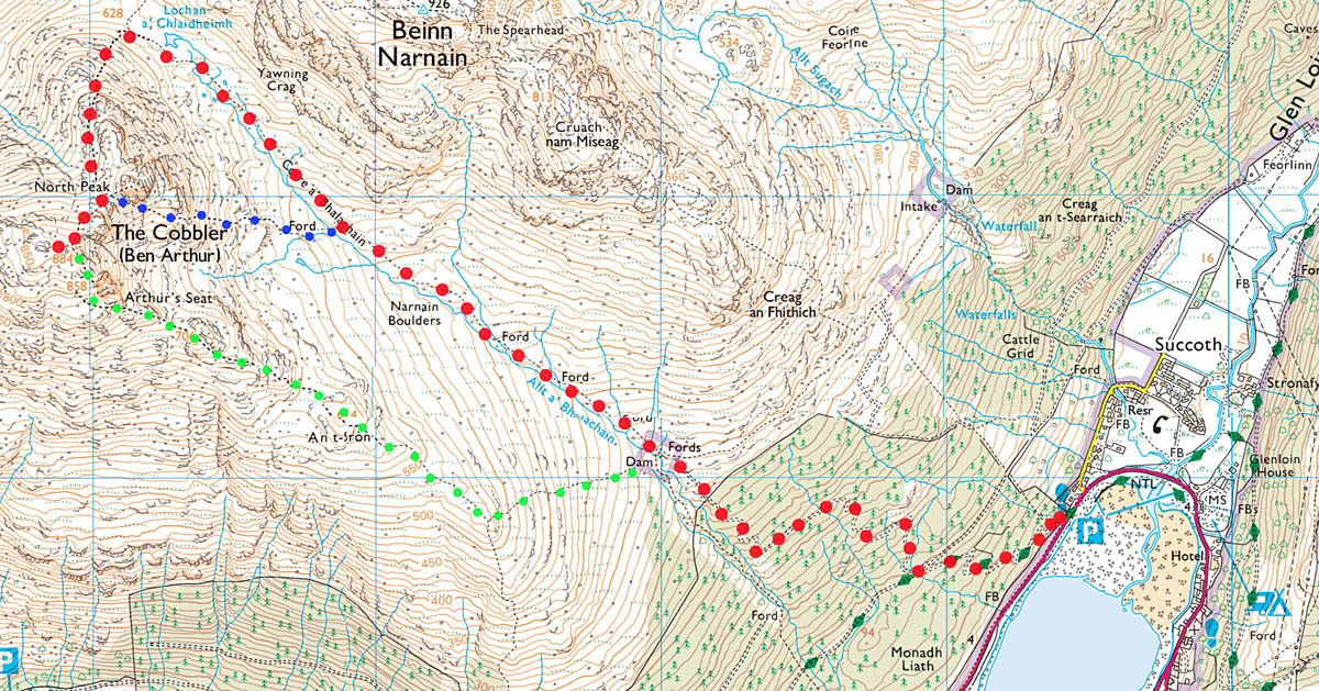 the cobbler hike map route