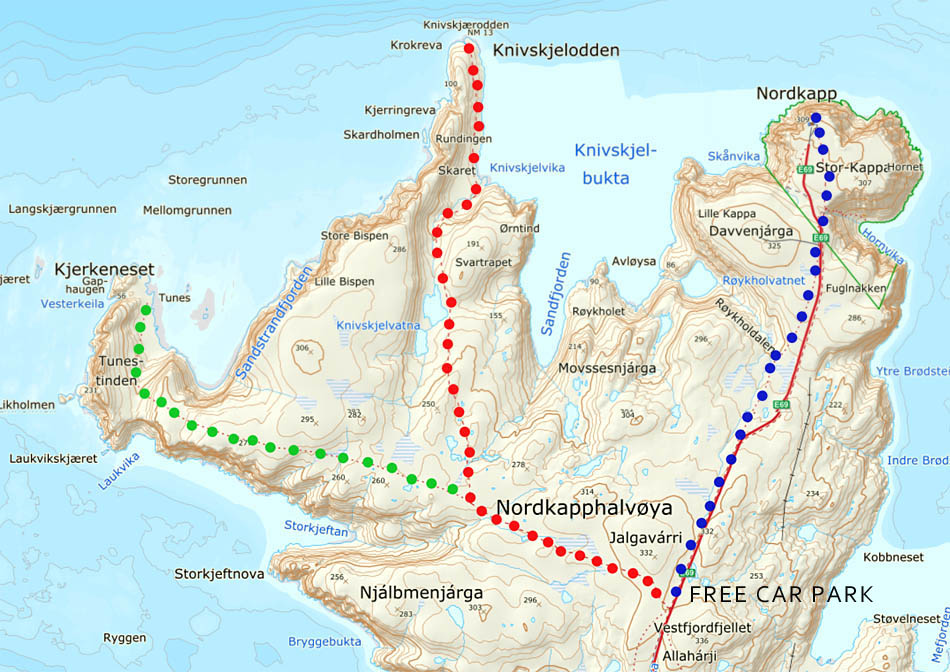 Nordkapp hiking trails