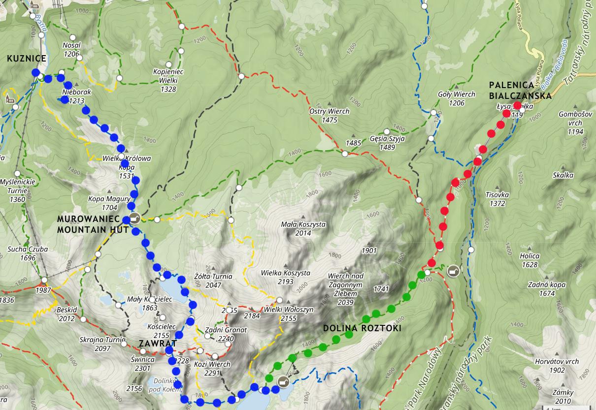 zawrat hiking map