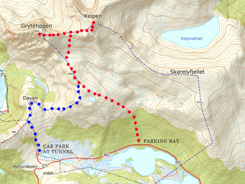 Keipen and Grytetippen hiking map