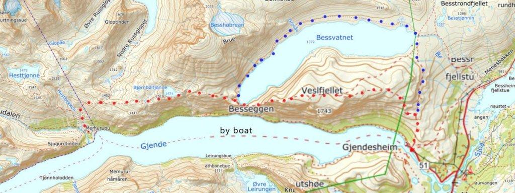 besseggen ridge hiking map