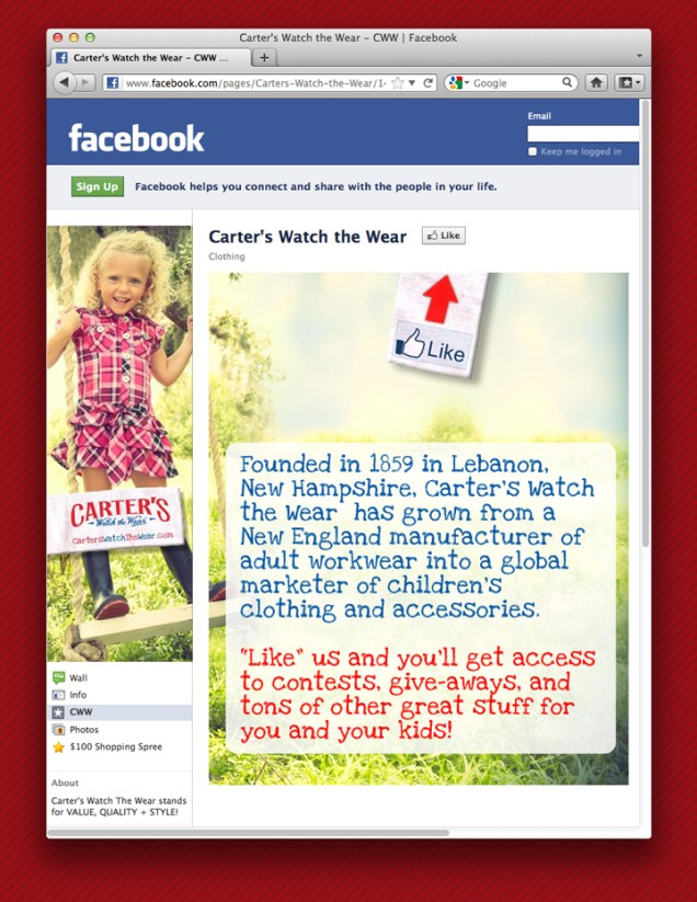 Carter's Facebook Page