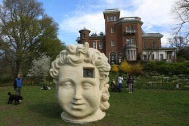 Sculpture in Prospect Park with Litchfield Villa in the background. Brooklyn NY. Picture by Jeff Reuben from picssr.com