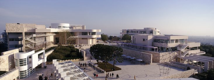 The Getty Center is designed by Richard Meier and is in Los Angeles CA. Picture saved from getty.edu.