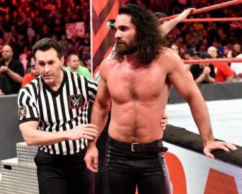 Seth Rollins leaving the Raw ring after going sixty five minutes. Saved from Forbes.com. Provided by WWE.
