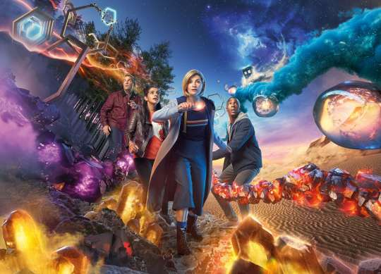 A promotional shot for the new Doctor Who season featuring Jodie Whitaker.