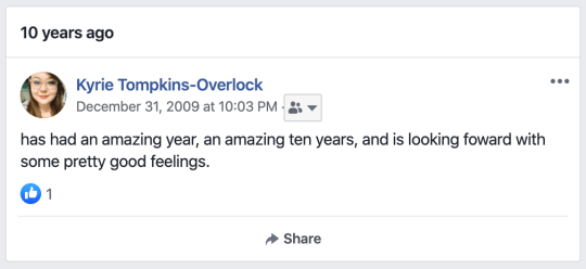 Kyrie Tompkins-Overlock (December 31, 2009) has had an amazing year, an amazing ten years, and is looking forward with some pretty good feelings.