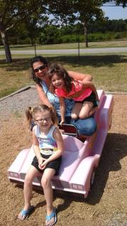 Me and my love bugs aka grand daughters at the same playground my mom and dad brought me too! Think about that!