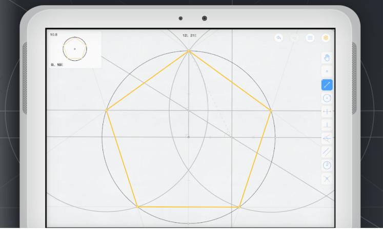 Euclidea game for euclidean construction