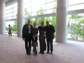 (from left to right:) Artistic Director Reid Anderson, Ballet Mistress Andria Hall, Director of Production Krzsysztof Nowogrodzki and Executive Director Marc-Oliver Hendriks are enjoying the Swan Lake performance at the Biwako Hall, Otsu