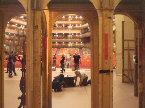 """the stage is being set up for """"The Taming of the Shrew"""""""